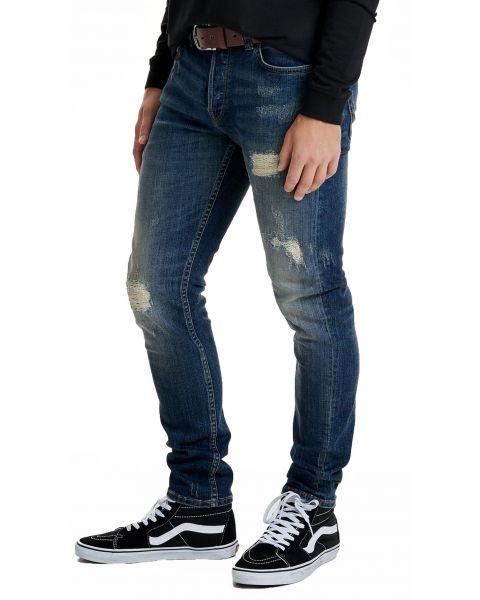 Only & Sons Loom Vintage Ripped Slim Fit Denim Jeans Mid Blue | Jean Scene