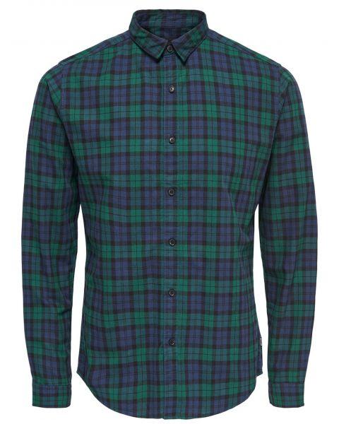 Only & Sons Slim Trent Long Sleeve Shirt Rain Forest | Jean Scene