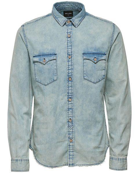 Only & Sons Originals Slim Denim Long Sleeve Shirt Light Blue | Jean Scene