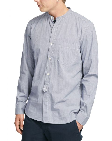 French Connection Grandad Collar Slim Gingham Shirt Long Sleeve Blueblood | Jean Scene