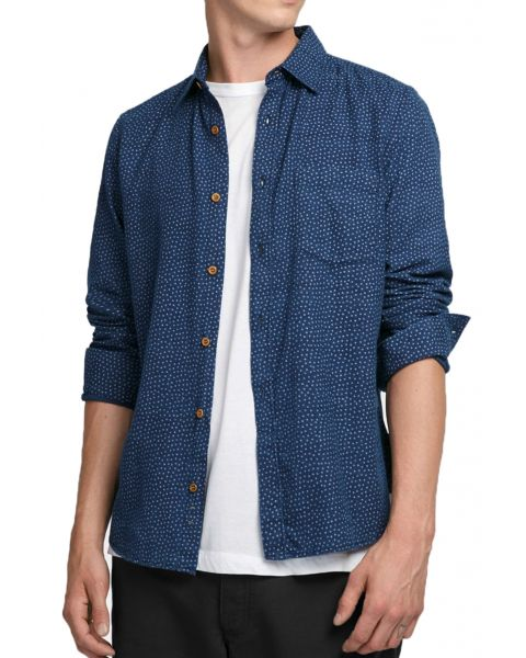 French Connection Stretch Men's Fuji Shirt Mid Blue | Jean Scene