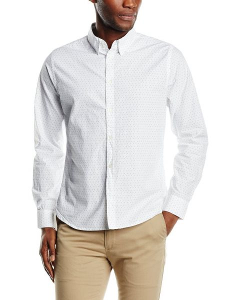 French Connection Mix Dott Long Sleeve White Shirt