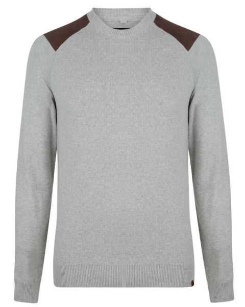Blend Crew Neck Cotton Knit Pullover Sand Mix Image