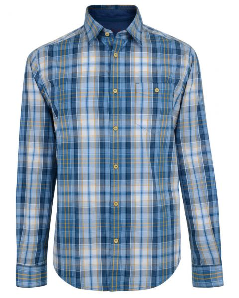 Esprit Regular Fit Long Sleeve Check Shirt Ocean Blue