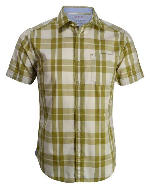 Esprit Regular Fit Short Sleeve Check Shirt Beige