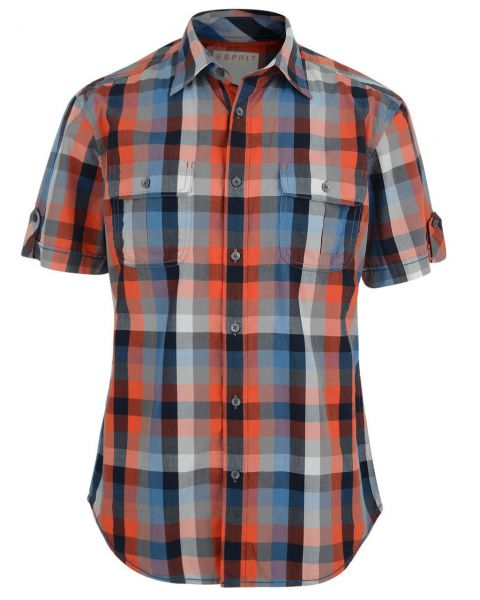Esprit Regular Fit Short Sleeve Check Shirt Spicy Orange