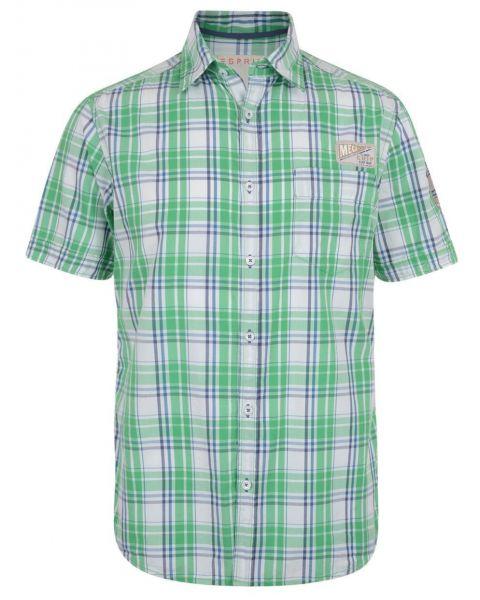 Esprit Slim Fit Short Sleeve Check Shirt Vibrant Green