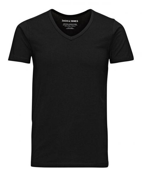 Jack & Jones Basic Vee Neck Cotton Lycra Plain T-shirt Black | Jean Scene