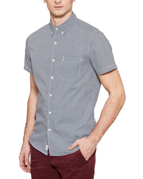 Timberland Poplin Check Slim Suncook Shirt Short Sleeve Dark Sapphire | Jean Scene