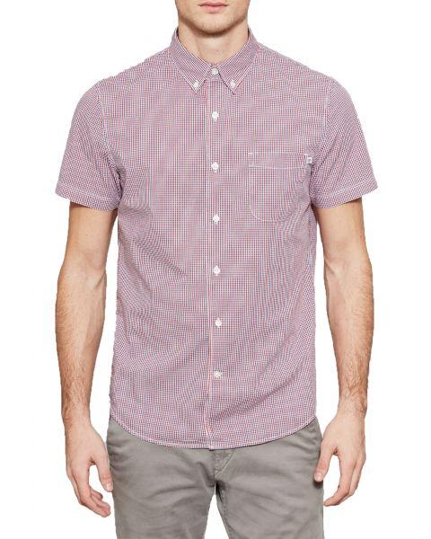 Timberland Gingham Slim Suncook Shirt Short Sleeve Tango Red | Jean Scene