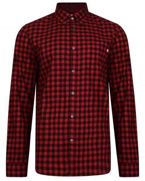 Timberland Flannel Slim Gingham Check Shirt Long Sleeve Tibetan Red | Jean Scene