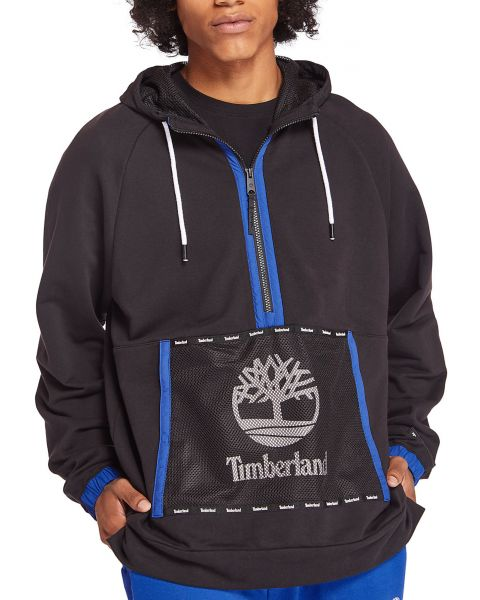 Timberland Mesh Mix Hooded Sweatshirt Black
