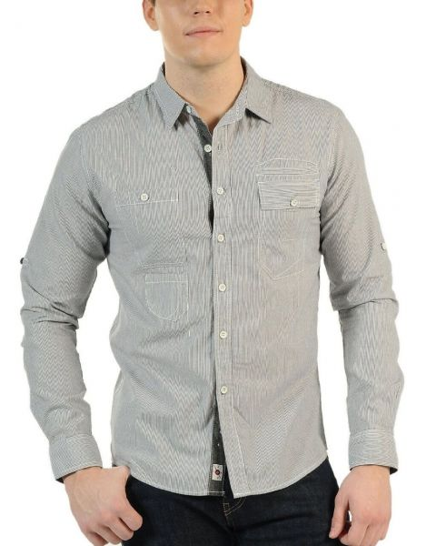 Soul Star Long Sleeve Shirt Stripe Grey Image