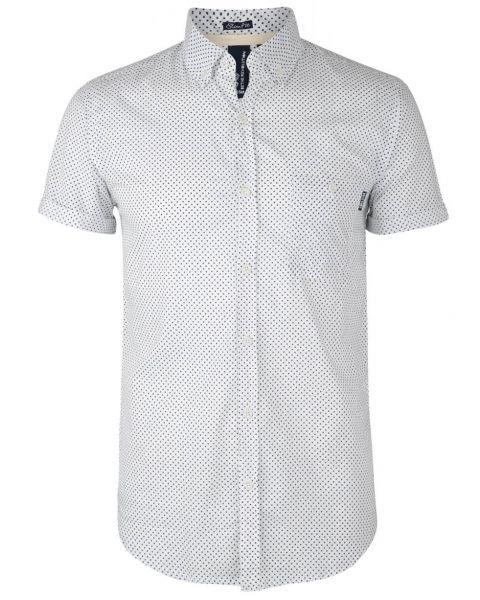 Soul Star Poker Dott Short Sleeve Cotton Shirt White Image