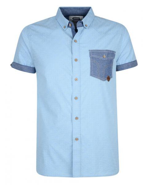 Smith & Jones Priviledge Pattern Shirt Short Sleeve Cerulean Blue Image