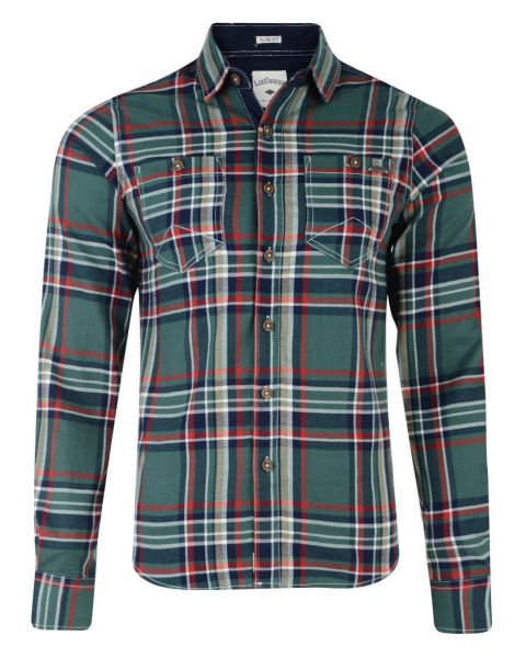 Lee Cooper Long Sleeve Check Shirt Green Image