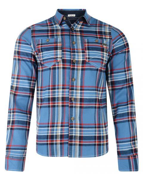 Lee Cooper Long Sleeve Check Shirt Blue Image