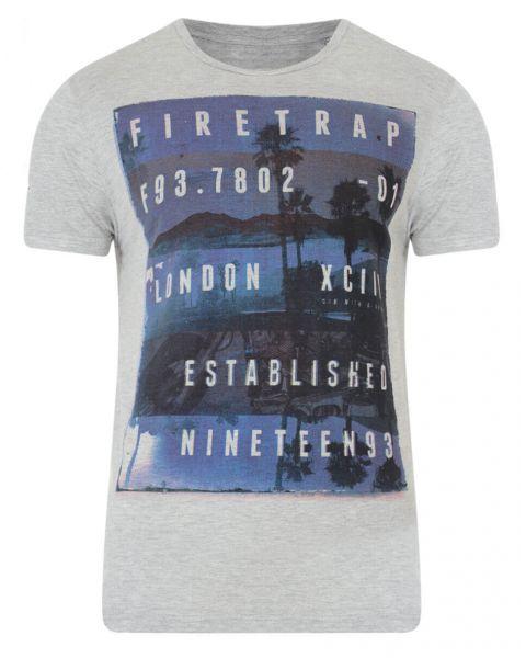 Firetrap Crew Neck Sunset Print T-shirt Grey Marl Image