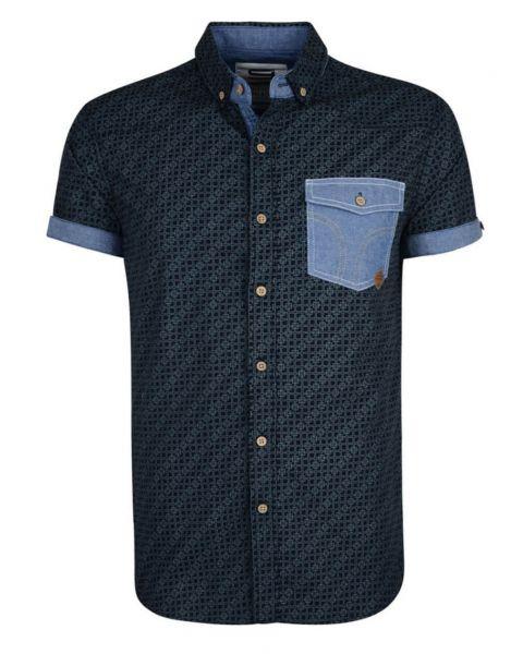 Smith & Jones Priviledge Pattern Shirt Short Sleeve Navy Blue Image