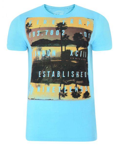 Firetrap Crew Neck Sunset Print T-shirt Sky Blue Image
