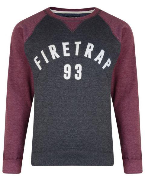 Firetrap Crew Neck Faded Print Sweatshirt Dark Shadow Image