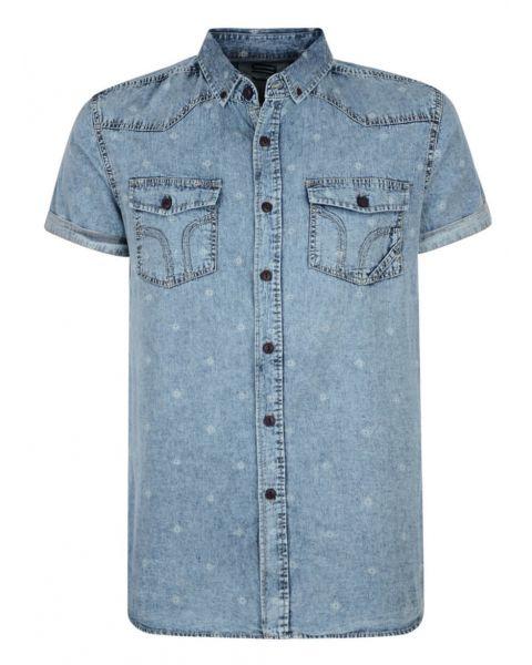 Smith & Jones Disclosure Denim Shirt Short Sleeve Light Blue Image