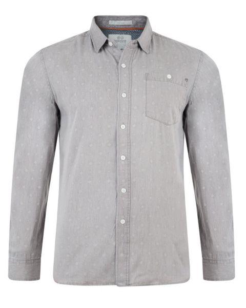 Crosshatch Print Shirt Long Sleeve Cotton Light Grey Image