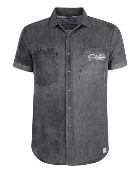 Smith & Jones Uxbridge Denim Shirt Short Sleeve Dark Grey Image