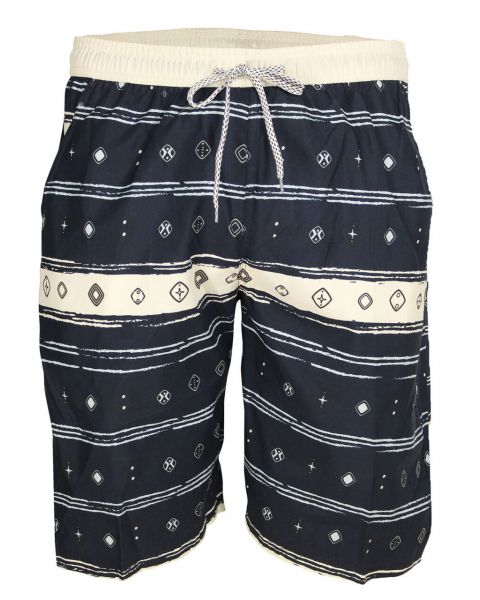 Soul Star Casual Summer Printed Shorts Navy Blue Image