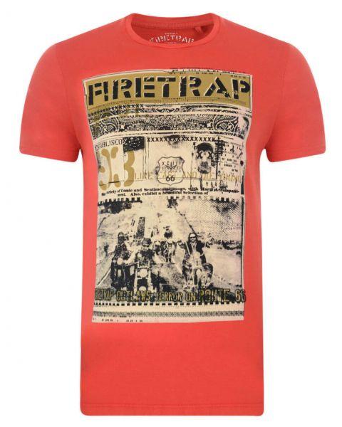 Firetrap Crew Neck Route 66 Print T-shirt Java Orange Image