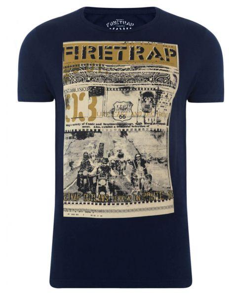 Firetrap Crew Neck Route 66 Print T-shirt Navy Blue Image