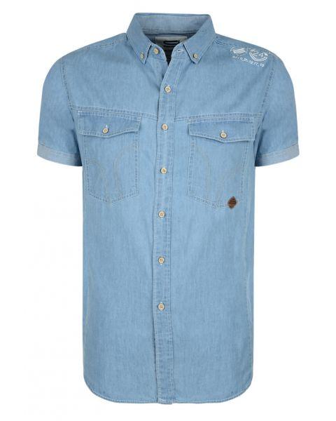 Smith & Jones Del Mar Denim Shirt Short Sleeve Light Blue Image