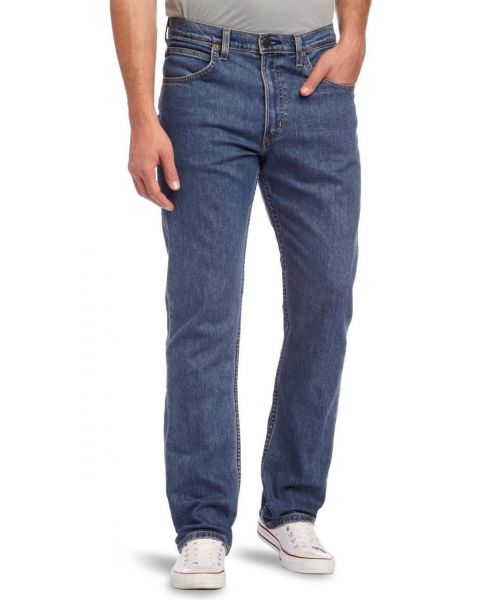 Lee Brooklyn Straight Denim Stretch Jeans Mid Stonewash Image