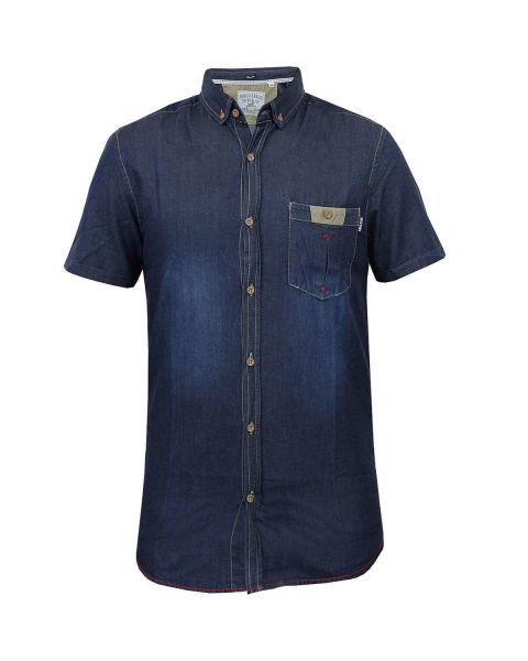 Soul Star Short Sleeve Plain Denim Shirt Blue Image