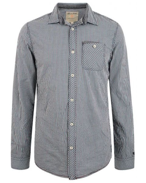 Garcia Jeans Long Sleeve Check Shirt Marine Blue Image