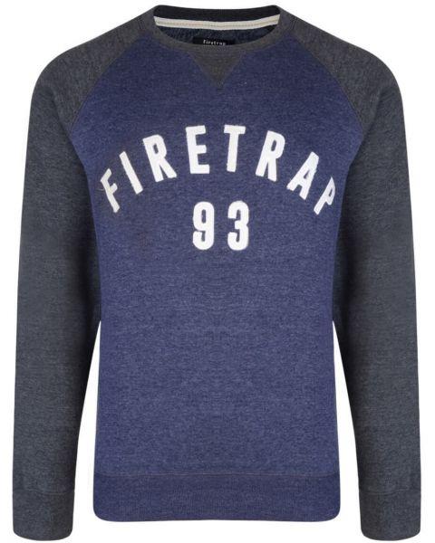 Firetrap Crew Neck Faded Print Sweatshirt Midnight Image