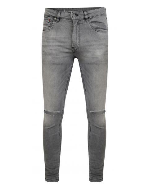 Ringspun Apollo Ripped Super Skinny Stretch Denim Jeans Grey | Jean Scene