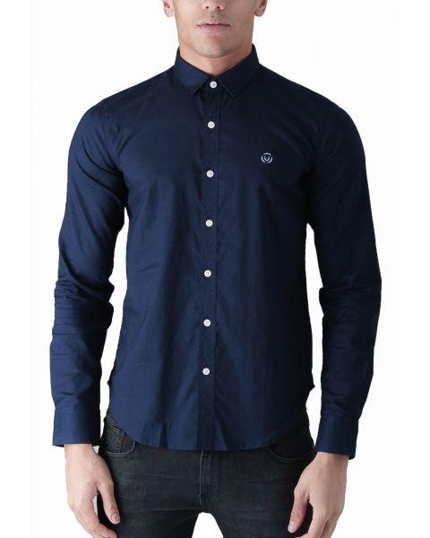Duck and Cover Slim Birch Long Sleeve Shirt Navy | Jean Scene