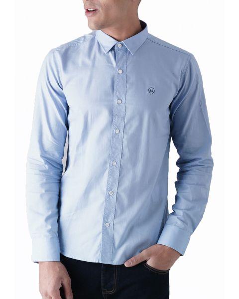 Duck and Cover Slim Birch Long Sleeve Shirt Sky Blue | Jean Scene