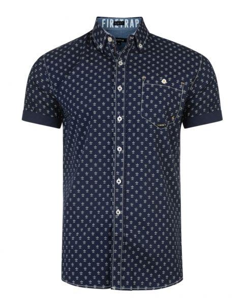 Firetrap Bulstrode Anchor Pattern Shirt Short Sleeve Midnight Blue | Jean Scene