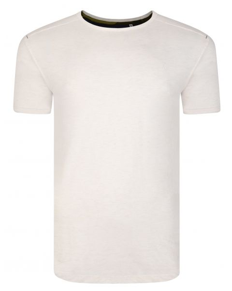 Ringspun Burn Crew Neck Cotton Plain T-shirt Ecru | Jean Scene