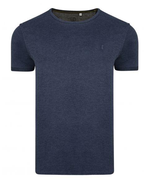 Ringspun Burn Crew Neck Cotton Plain T-shirt Navy | Jean Scene