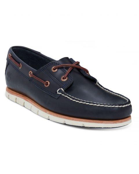 Timberland Mens Tidelands 2 Eye Leather Boat Shoes Shoes Dark Indigo   Jean Scene