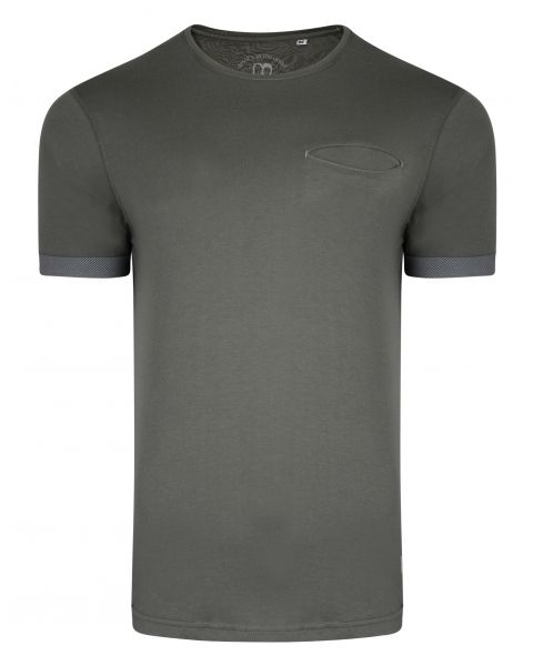 Ringspun Clifton Crew Neck Cotton Plain T-shirt Charcoal | Jean Scene