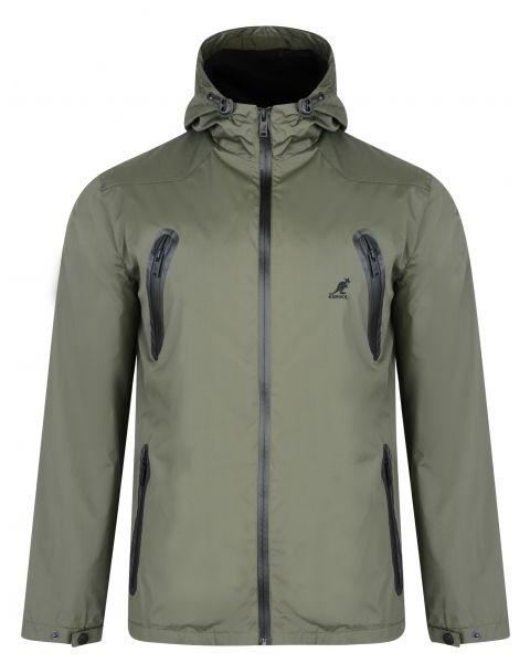 Kangol Hooded Windbreaker Lightweight Jacket Khaki | Jean Scene