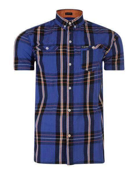 Firetrap Dunloe Check Shirt Short Sleeve Vallarta Blue | Jean Scene