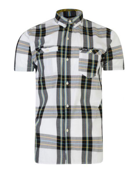 Firetrap Dunloe Check Shirt Short Sleeve White | Jean Scene