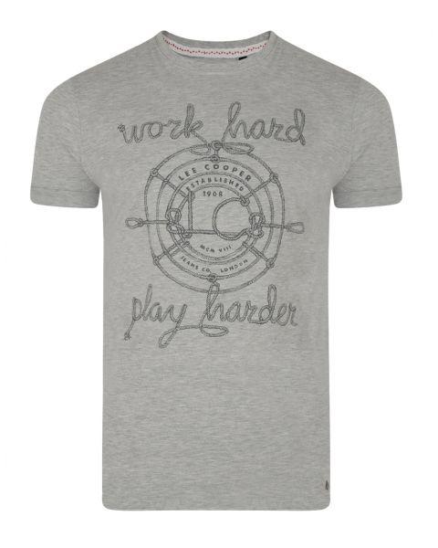 Lee Cooper Farway Crew Neck Cotton Printed T-shirt Grey Marl | Jean Scene