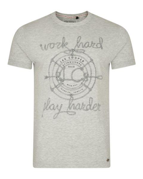 Lee Cooper Farway Crew Neck Cotton Printed T-shirt Ecru | Jean Scene