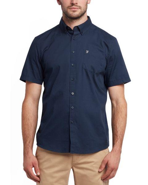 Farah Patterson Short Sleeve Shirt Dark Blue